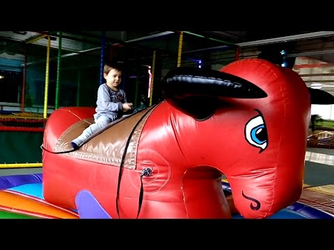 Thumbnail: Indoor playground fun for kids with inflatable bull and more toys. Family video