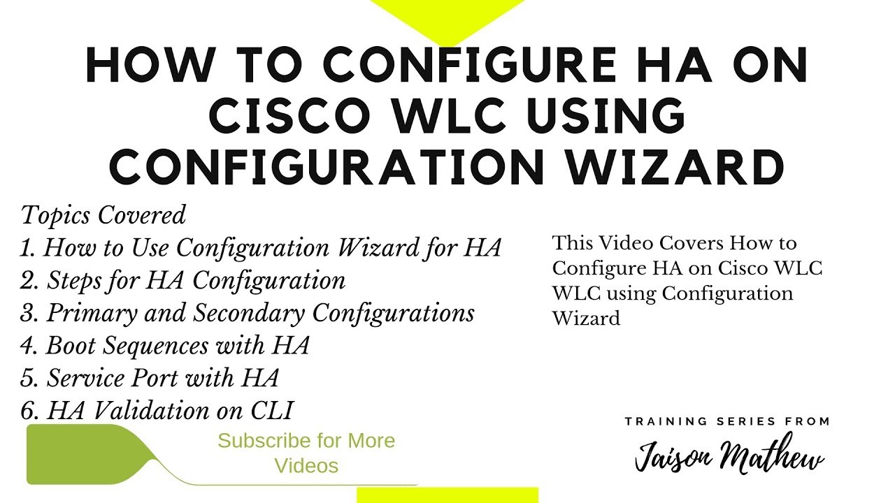 How to Configure HA on Cisco WLC using Configuration Wizard