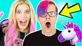 Transforming my Husband into a Unicorn! DIY Wengie Hair Tutorial
