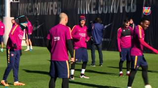 FC Barcelona train the morning after huge victory