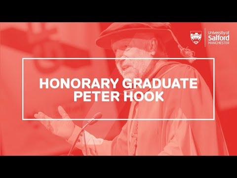Music legend Peter Hook delivers honorary doctorate acceptance speech.