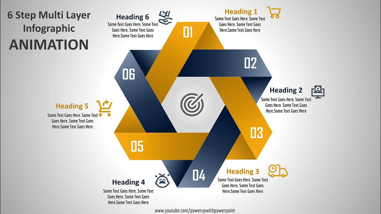 47.Create 6 Step Multi Layer Infographic ANIMATION/Powerpoint Animations