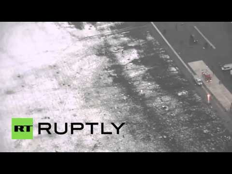 Russia: Aerial view of airport shows crash site at Rostov-on-Don