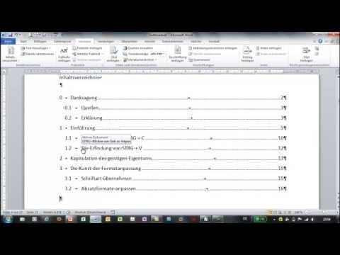 Word - Inhaltsverzeichnis erzeugen und anpassen - Große Dokumente