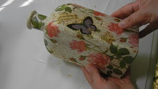 How to Upcycle/Decoupage Glass Bottles or Jars -- #2