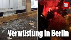 Vermummte randalieren und hinterlassen eine Spur der Verwüstung in Berlin