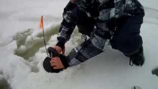 Зимняя рыбалка на Рыбинском Водохранилище.