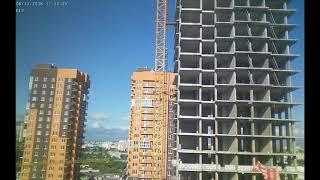 Строительство домов II очереди Квартала Европейский за июнь 2018г. (камера 1)