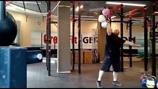 Вырывание трёх стандартных гирь общим весом 48 кг (20+20+8) и 50 кг (20кг+20кг+10кг) одной рукой