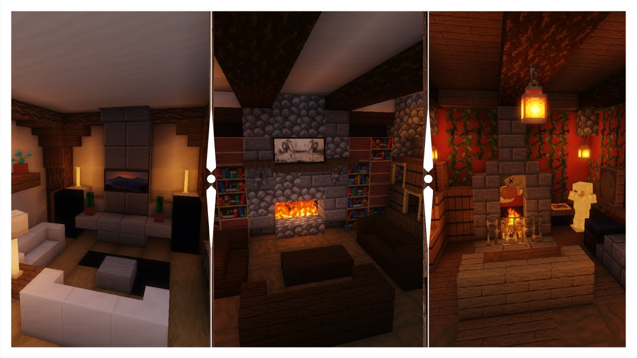 3 Living Room Interior Designs | Minecraft Small Builds Ep ...
