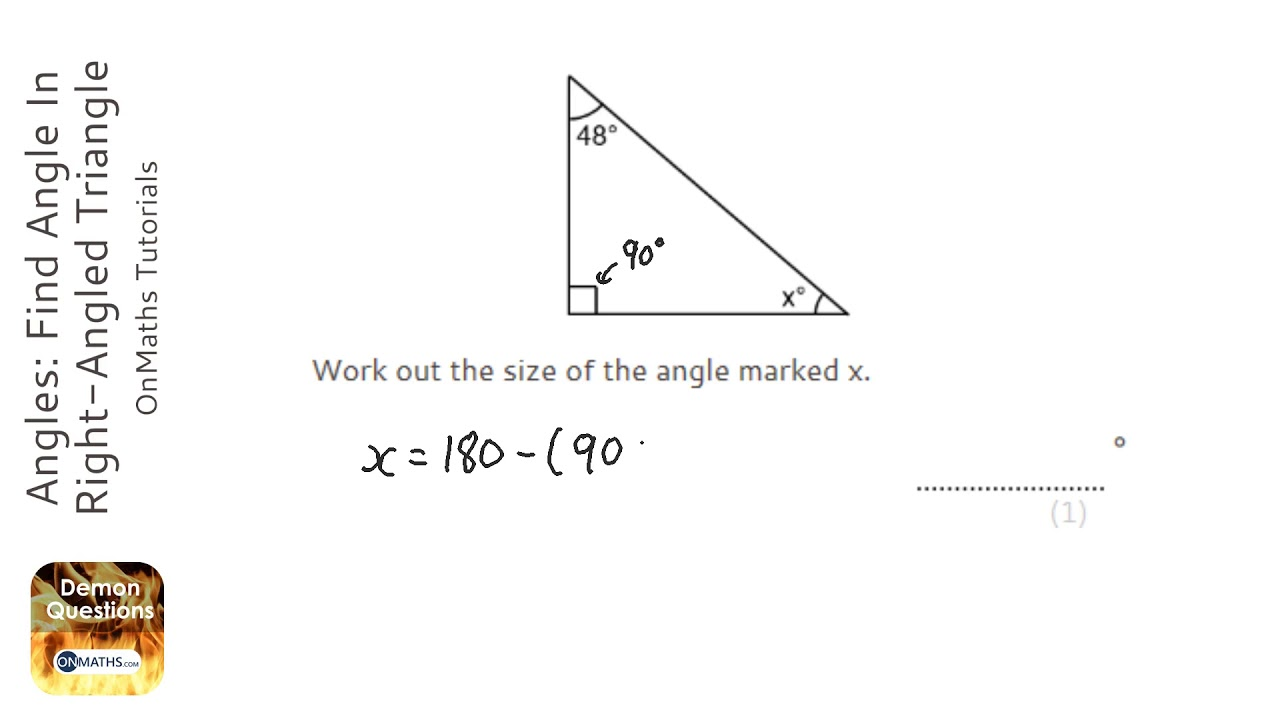 Angles: Find Angle In Right-Angled Triangle (Grade 2) - OnMaths GCSE Maths  Revision