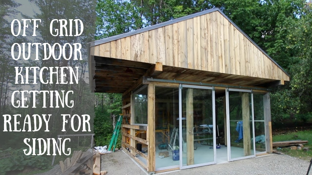 Getting Ready To Side The Off Grid Outdoor Kitchen W/ Rough Sawn Lumber