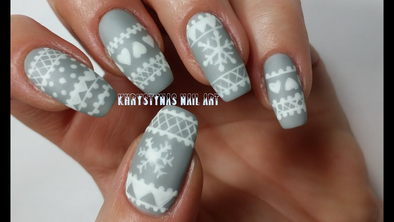 Christmas nail art tutorial freehand youtube prinsesfo Image collections