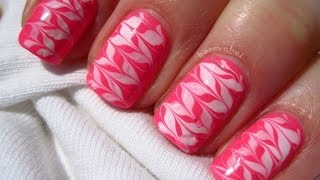 Neon pink and white - no water marble - nail art - Neonowe mazance na paznokciach - Basevehei
