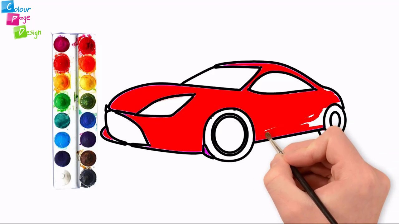 Drawing Car For Kids Drawing Car Kaise Banate Hain Colouring Cars For Kids Colour Page Design Youtube