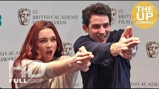 Josh O'Connor and Florence Pugh do a Bond gun barrel sequence at BAFTA