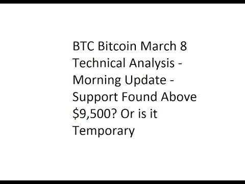 BTC Bitcoin March 8 TA - Morning Update - Support Found AT $9,500? Or is it Temporary