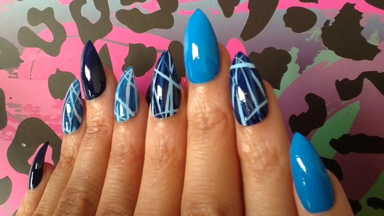 Light & Dark Blue Lines Nail Art 030 Press On Nails Stiletto - YouTube