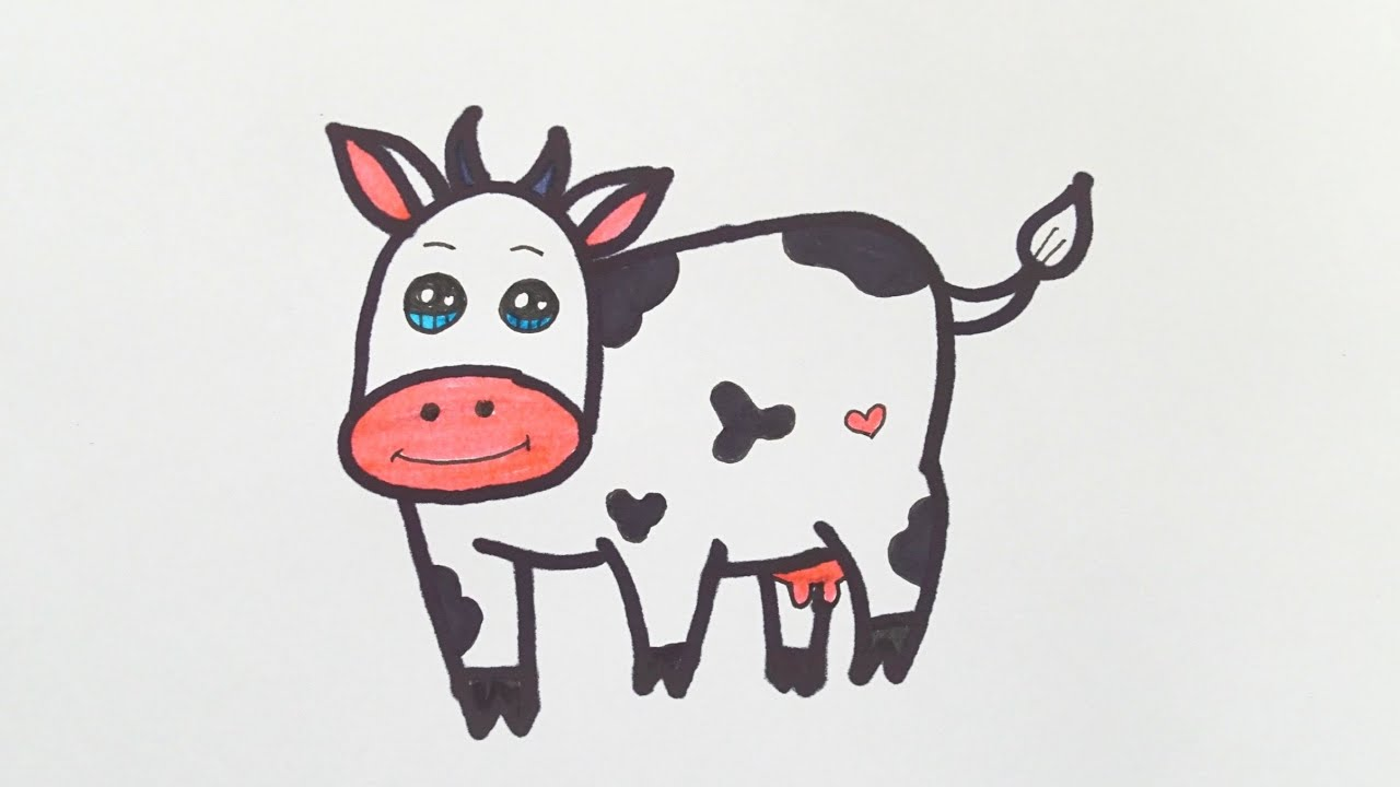 Cow Drawing Easy || How To Draw Cow Drawing For Kids ...