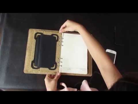 Built-in power bank Linen notebook with ipad mini holder.MOV