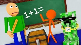 Monster School : STICKMAN & BALDI\'S BASICS CHALLENGE - Minecraft Animation