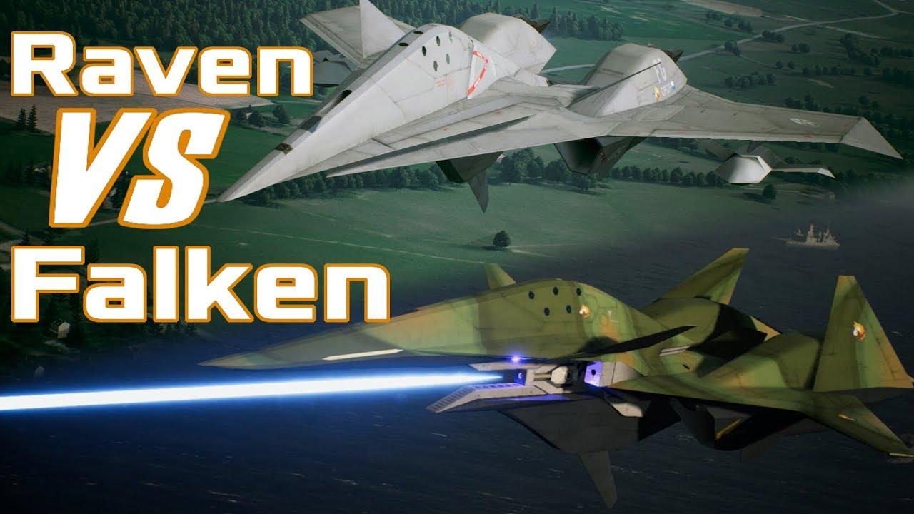 Raven VS  Falken - Performance Comparison - Ace Combat 7 DLC Aircraft