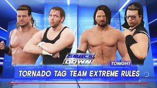 WWE 2K17-Dean Ambrose & Dolph Ziggler  vs A.J. Styles & The Miz-Tornado Tag Team ExtremeRule Match