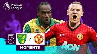Top 5 Norwich City v Manchester United Premier League Moments | Rooney, Jerome, Martial