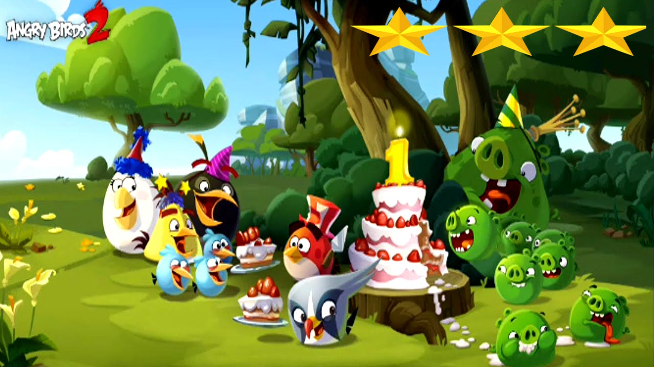Angry birds 2 1st birthday bash special level three star - Angry birds trio ...