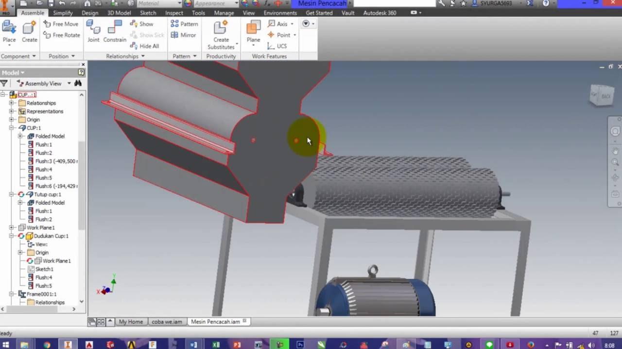Cara Membuat Mesin Pencacah di Autodesk Inventor#9 ...
