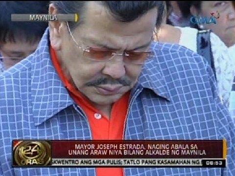 24 Oras: Mayor Joseph Estrada, naging abala sa unang araw niya bilang alkalde ng Maynila