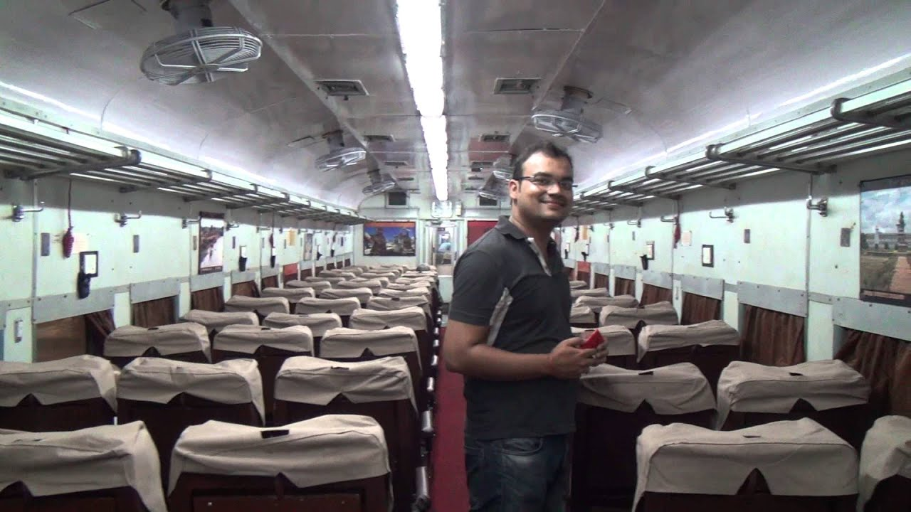 inside of deccan queen ac chair car coach spic and span indian