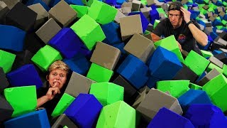Hide And Seek In 100000 Foam Pit Cubes Ninja Warrior Trampoline Park Challenge