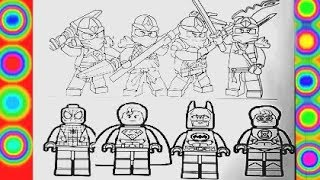 Lego  SUPER COLORING Lego Ninjago VS Lego spiderman, superman, batman, green lantern