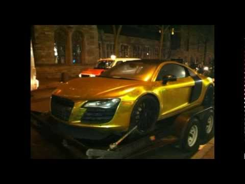 Tyga Was In A Car Crash In His Custom Gold Plated Audi R8 In Miami Tyga Gold Audi R Belts on tyga gold toilet, tyga gold shoes, tyga r8 s, tyga gold watch, tyga gold chain, tyga gold bricks, tyga audi v8, tyga latest shoes, tyga gold bugatti, tyga gold chair, tyga gold cars, tyga t-raww shoes, tyga groupie tales,