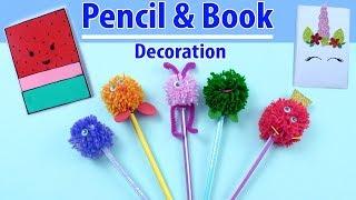 PENCIL & COPY DECORATION #DIY #SCHOOL SUPPLIES | Craft with Aayu Pihu