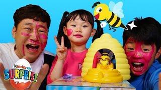 라임파파 불쌍한 오징어되다?! 꿀벌어택 보드게임 챌린지 서프라이즈에그 장난감 놀이 Игрушки LimeTube & Toy 라임튜브