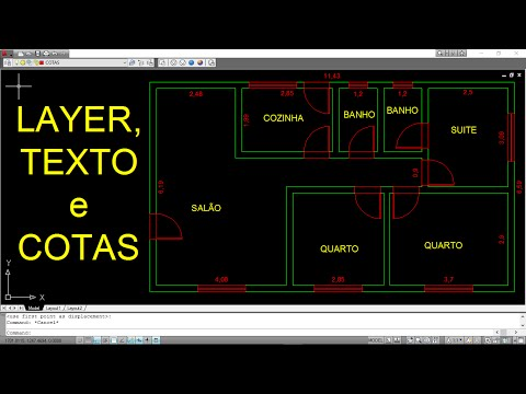 AUTOCAD - PLANTA BAIXA 4 (LAYER, TEXTO E COTA)