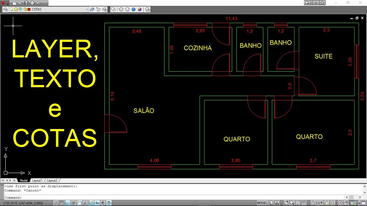 Autocad Planta Baixa 4 Layer Texto E Cota Youtube