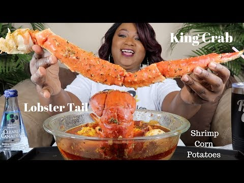 KING CRAB + LOBSTER TAIL SEAFOOD BOIL  MUKBANG
