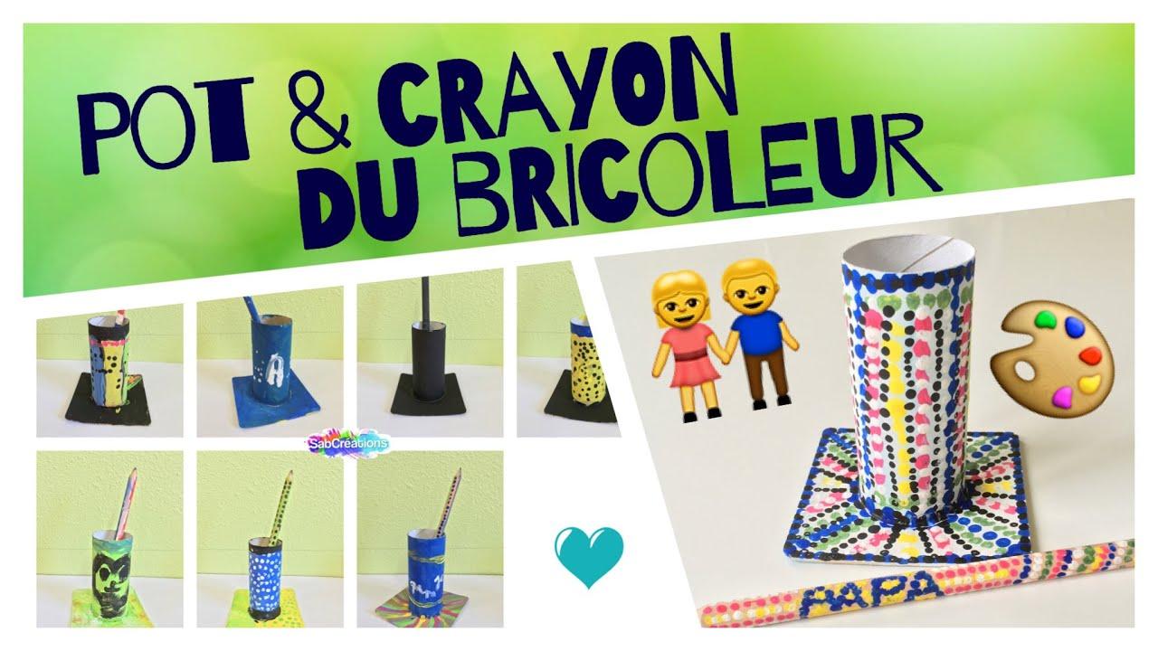 pot et crayon du bricoleur f te des p res atelier peinture enfant sabcreations youtube. Black Bedroom Furniture Sets. Home Design Ideas