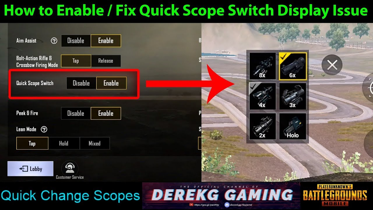 Pubg Mobile Enable Hd: How To ENABLE And FIX The QUICK SCOPE SWITCH Button In