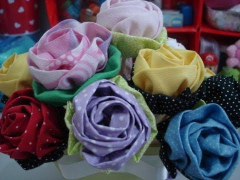 Rosa de tecido - Artesanato / passo a...