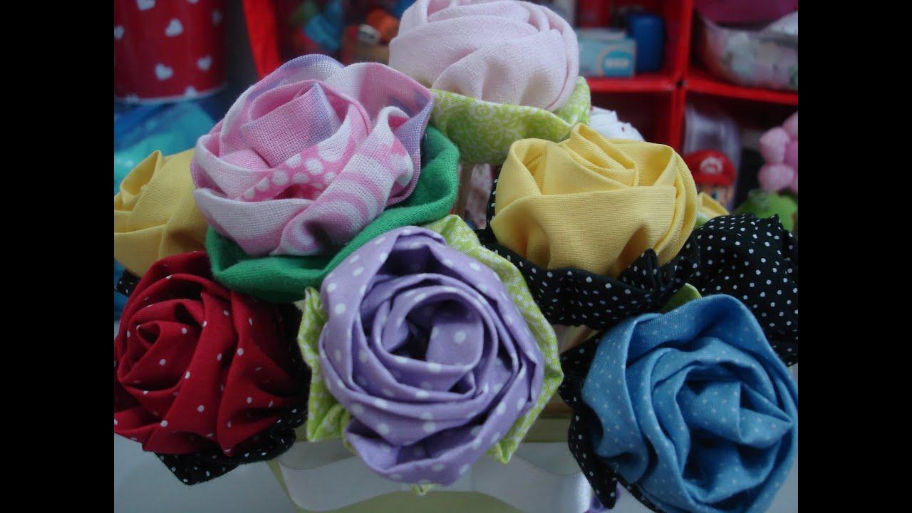 Artesanato Passo A Passo ~ Rosa de tecido Artesanato passo a passo tutorial diy YouTube