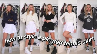 5 WAYS TO STYLE A PLEATED TENNIS SKIRT! | preppy, sporty, girly, sweater vest, casual