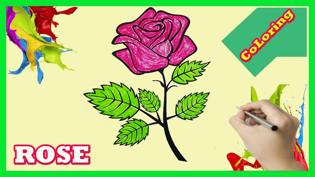 rose coloring pages how to color rose for kids youtube