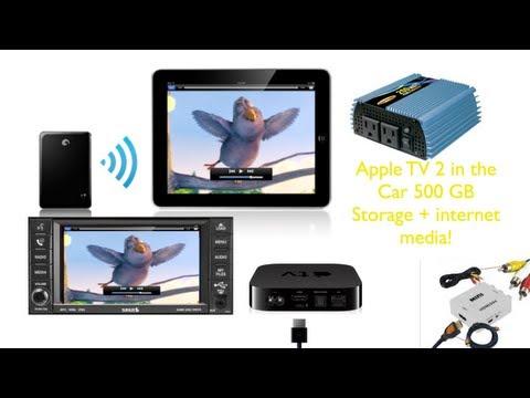 Apple TV 2, 500 GB Seagate Goflex Satellite HD, and iOS Airplay Mirror in the car Static AdHoc