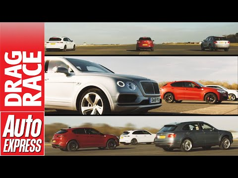 Bentley Bentayga, Porsche Cayenne Turbo, Alfa Stelvio Q Drag Race
