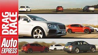 Bentley Bentayga vs Porsche Cayenne Turbo vs Alfa Stelvio Quadrifoglio - performance SUV drag race