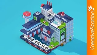Isometric Low Poly City - 3D animation (#Cinema4D) | CreativeStation